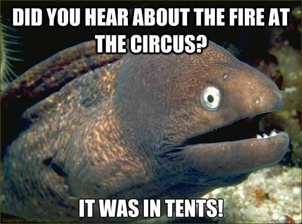 Did you hear about the fire at the circus? It was in tents! - Did you hear about the fire at the circus? It was in tents!  Bad Joke Eel