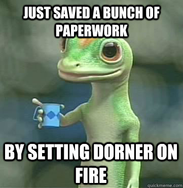 just saved a bunch of paperwork by setting dorner on fire