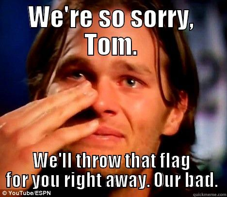 WE'RE SO SORRY, TOM. WE'LL THROW THAT FLAG FOR YOU RIGHT AWAY. OUR BAD. Misc