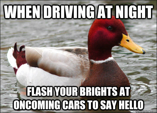 when driving at night flash your brights at oncoming cars to say hello - when driving at night flash your brights at oncoming cars to say hello  Malicious Advice Mallard