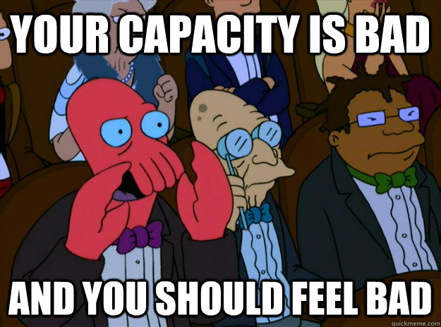 your capacity is bad And you should feel bad  And you should feel bad