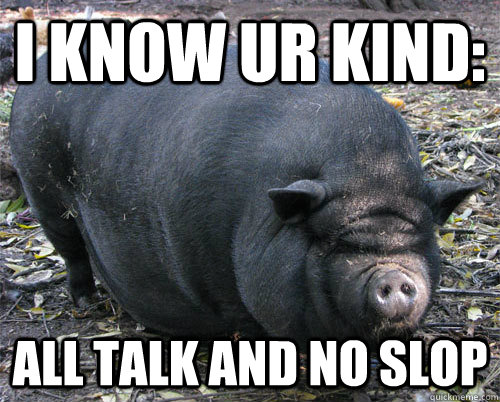 i know ur kind: all talk and no slop