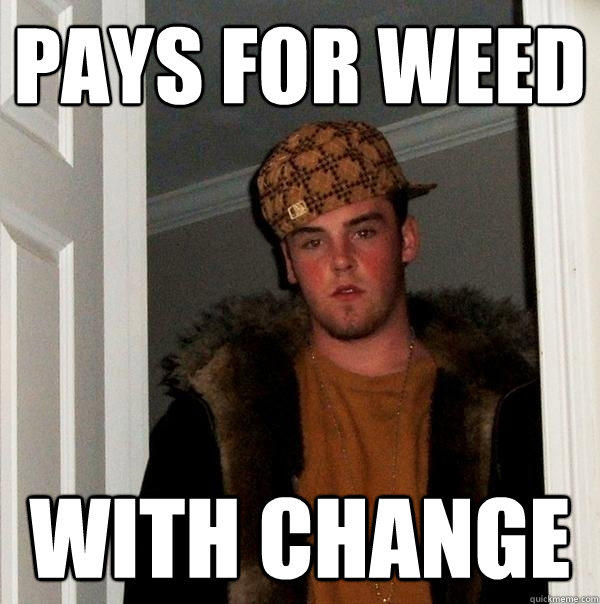 pays for weed with change - pays for weed with change  Scumbag Steve