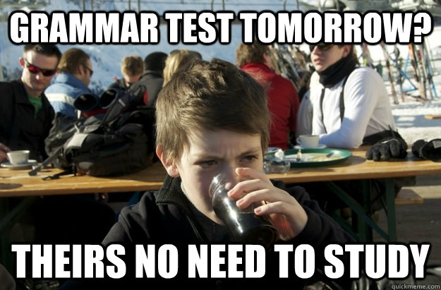 grammar test tomorrow? theirs no need to study - grammar test tomorrow? theirs no need to study  Lazy Elementary School Kid