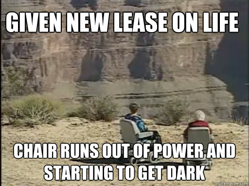 given new lease on life chair runs out of power and starting to get dark