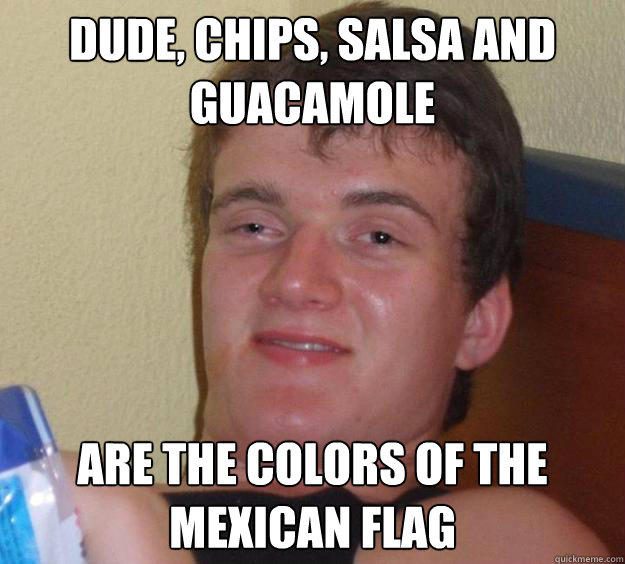 Dude, chips, salsa and guacamole are the colors of the mexican flag - Dude, chips, salsa and guacamole are the colors of the mexican flag  10 Guy