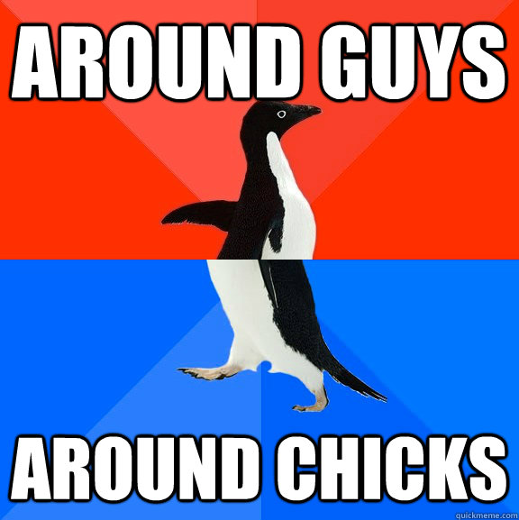 Around Guys Around Chicks - Around Guys Around Chicks  Socially Awesome Awkward Penguin