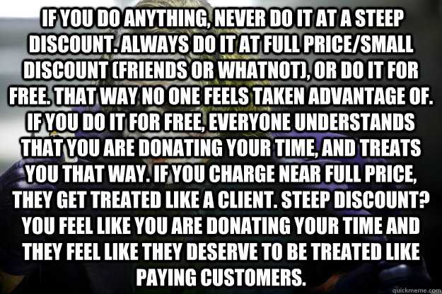 If you do anything, never do it at a steep discount. Always do it at full price/small discount (friends or whatnot), or do it for free. That way no one feels taken advantage of. If you do it for free, everyone understands that you are donating your time,