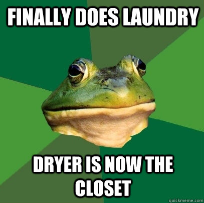 finally does laundry dryer is now the closet - finally does laundry dryer is now the closet  Foul Bachelor Frog