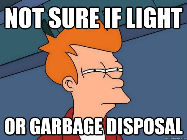 not sure if light or garbage disposal - not sure if light or garbage disposal  Futurama Fry