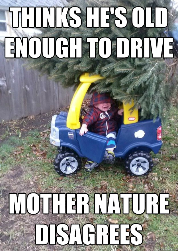 Thinks he's old enough to drive mother nature disagrees - Thinks he's old enough to drive mother nature disagrees  car crash