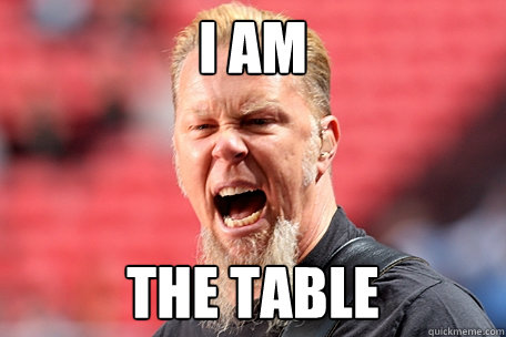 I AM THE TABLE - I AM THE TABLE  I AM THE TABLE - James Hetfield