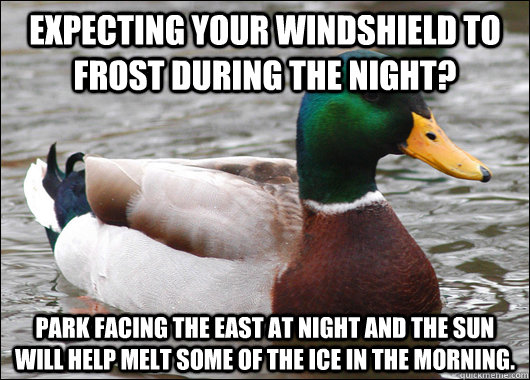 Expecting your windshield to frost during the night? Park facing the East at night and the sun will help melt some of the ice in the morning. - Expecting your windshield to frost during the night? Park facing the East at night and the sun will help melt some of the ice in the morning.  Actual Advice Mallard