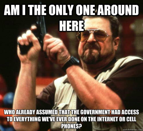 Am i the only one around here Who already assumed that the government had access to everything we've ever done on the internet or cell phones? - Am i the only one around here Who already assumed that the government had access to everything we've ever done on the internet or cell phones?  Am I The Only One Around Here