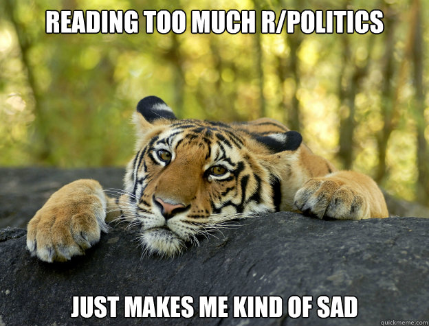 Reading too much r/politics just makes me kind of sad - Reading too much r/politics just makes me kind of sad  Confession Tiger