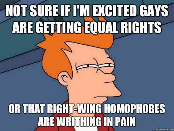 Not sure if I'm excited gays are getting equal rights Or that Right-wing Homophobes are writhing in pain - Not sure if I'm excited gays are getting equal rights Or that Right-wing Homophobes are writhing in pain  Futurama Fry