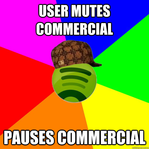 user Mutes commercial pauses commercial