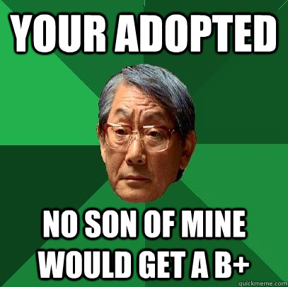Your adopted No son of mine would get a b+ - Your adopted No son of mine would get a b+  High Expectations Asian Father