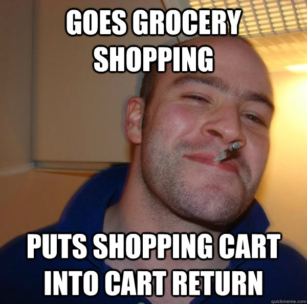 Goes grocery shopping Puts shopping cart into cart return - Goes grocery shopping Puts shopping cart into cart return  Misc