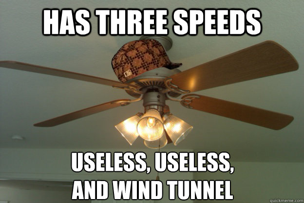 Has three speeds Useless, Useless,  and Wind Tunnel   scumbag ceiling fan