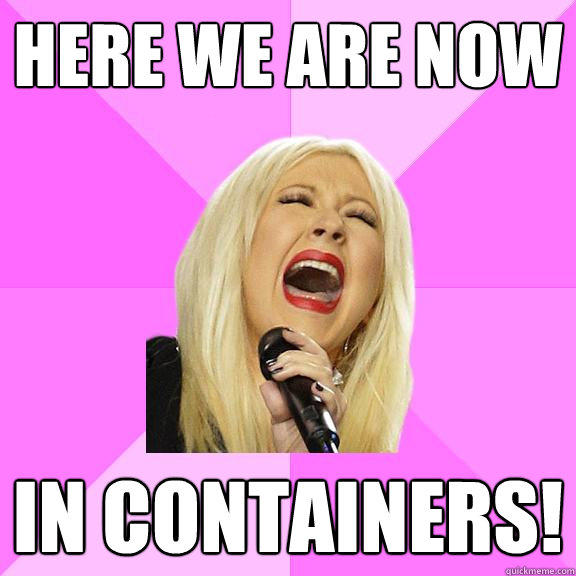 Here we are now in containers!  Wrong Lyrics Christina
