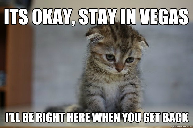 its okay, stay in Vegas I'll be right here when you get back  Sad Kitten