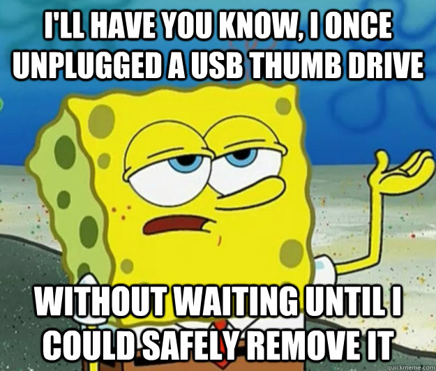 I'll have you know, I once unplugged a USB thumb drive Without waiting until I could safely remove it - I'll have you know, I once unplugged a USB thumb drive Without waiting until I could safely remove it  Tough Spongebob