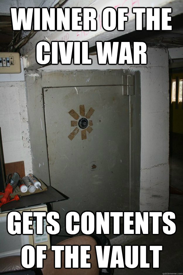 winner of the civil war gets contents of the vault
