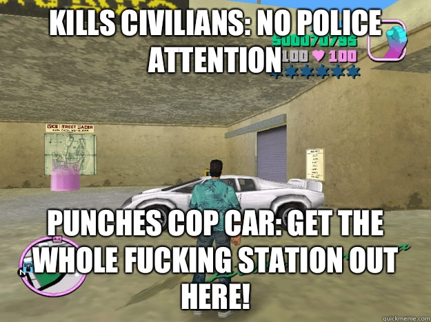 Kills civilians: no police attention Punches cop car: get the whole fucking station out here!  GTA LOGIC