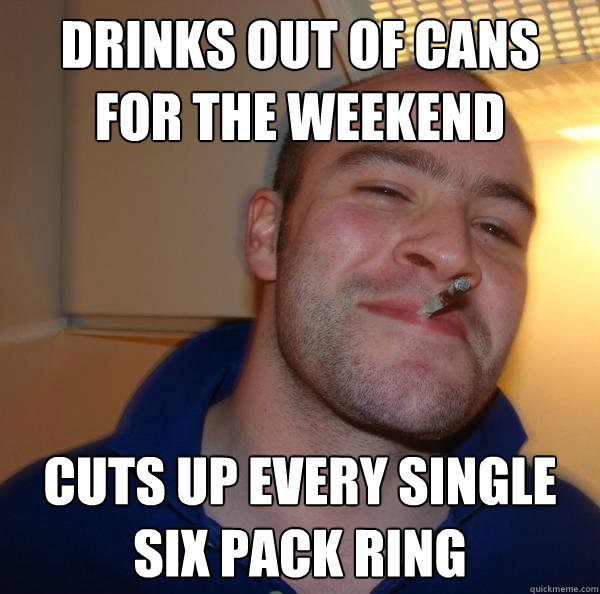 Drinks out of cans for the weekend Cuts up every single six pack ring - Drinks out of cans for the weekend Cuts up every single six pack ring  Misc