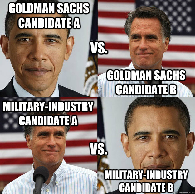 Goldman Sachs candidate A Goldman Sachs candidate B Military-Industry candidate A Military-Industry candidate B vs. vs. - Goldman Sachs candidate A Goldman Sachs candidate B Military-Industry candidate A Military-Industry candidate B vs. vs.  Wheres the difference