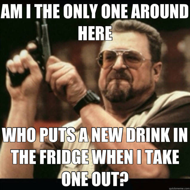 AM I THE ONLY ONE AROUND HERE WHO PUTS A NEW DRINK IN THE FRIDGE WHEN I TAKE ONE OUT? - AM I THE ONLY ONE AROUND HERE WHO PUTS A NEW DRINK IN THE FRIDGE WHEN I TAKE ONE OUT?  Am I the only one