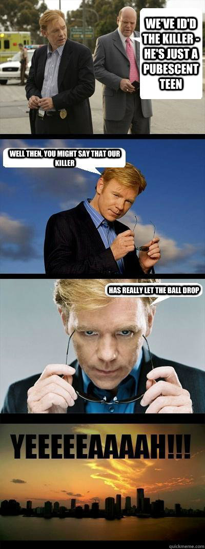 We've ID'd the killer - he's just a pubescent teen Well then, you might say that our killer Has really let the ball drop  Horatio Caine