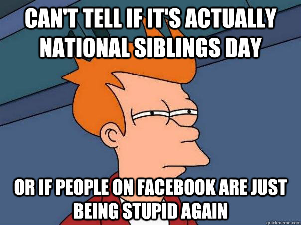Can't tell if It's actually national siblings day Or if people on facebook are just being stupid again - Can't tell if It's actually national siblings day Or if people on facebook are just being stupid again  Futurama Fry