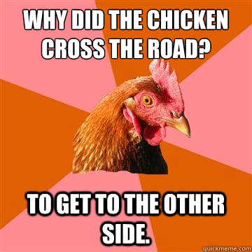 Why did the chicken cross the road? to get to the other side. - Why did the chicken cross the road? to get to the other side.  Anti-Joke Chicken