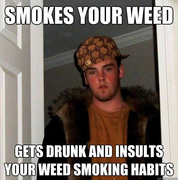 smokes your weed gets drunk and insults your weed smoking habits - smokes your weed gets drunk and insults your weed smoking habits  Scumbag Steve