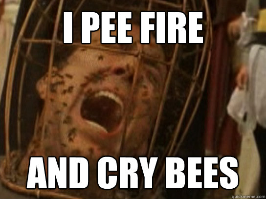 I pee fire And cry bees  Nicolas Cage