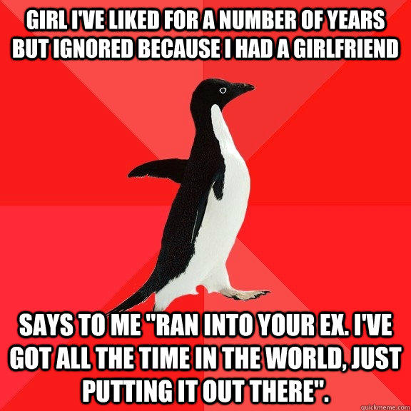 Girl I've liked for a number of years but ignored because I had a girlfriend says to me