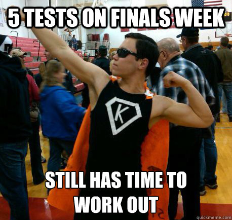 Finals Week Meme Matrix 5 tests on finals week...