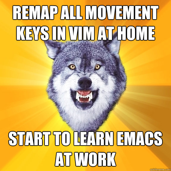remap all movement keys in vim at home start to learn emacs at work