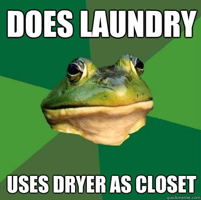 Does Laundry Uses dryer as closet - Does Laundry Uses dryer as closet  Foul Bachelor Frog