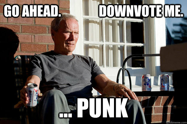 Go AHEAD.               DOWNVOTE ME. ... PUNK