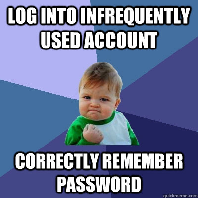 Log into infrequently used account Correctly remember password - Log into infrequently used account Correctly remember password  Success Kid