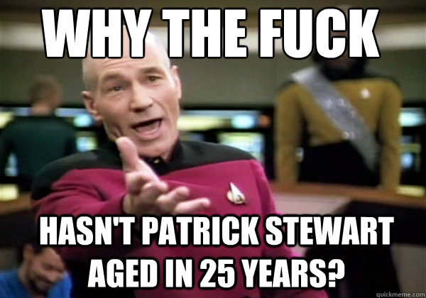 Why the fuck HASN'T PATRICK STEWART AGED IN 25 YEARS?