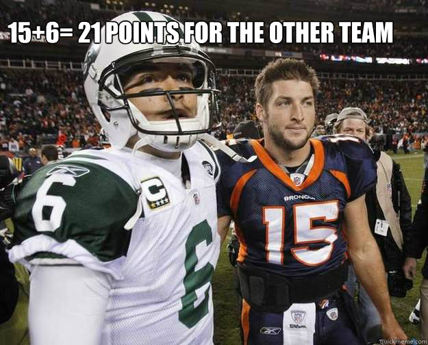 15+6= 21 points for the other team  Tim tebow and mark sanchez together