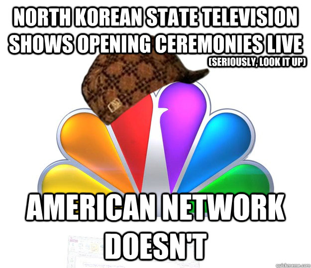 North Korean state television shows opening ceremonies live American Network doesn't (seriously, look it up)