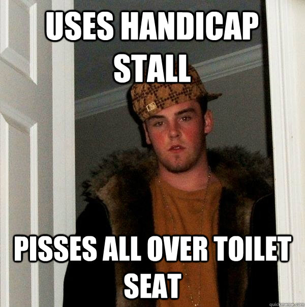 uses handicap stall pisses all over toilet seat - uses handicap stall pisses all over toilet seat  Misc
