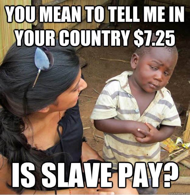You mean to tell me in your country $7.25 is slave pay? - You mean to tell me in your country $7.25 is slave pay?  Skeptical Third World Kid
