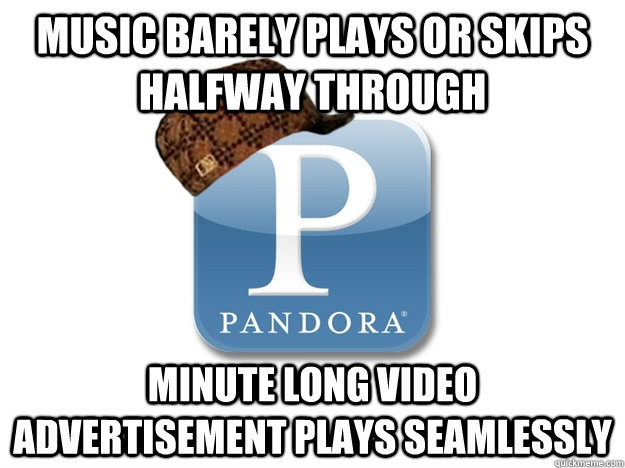 Music barely plays or skips halfway through minute long video advertisement plays seamlessly