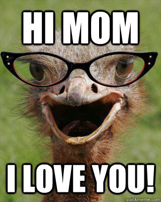HI MOM I LOVE YOU!  Judgmental Bookseller Ostrich